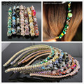 Fashion Women Girl Rhinestone Crystal Headband Barrett Clips For Hair Accessories Wholesale 7 Colors