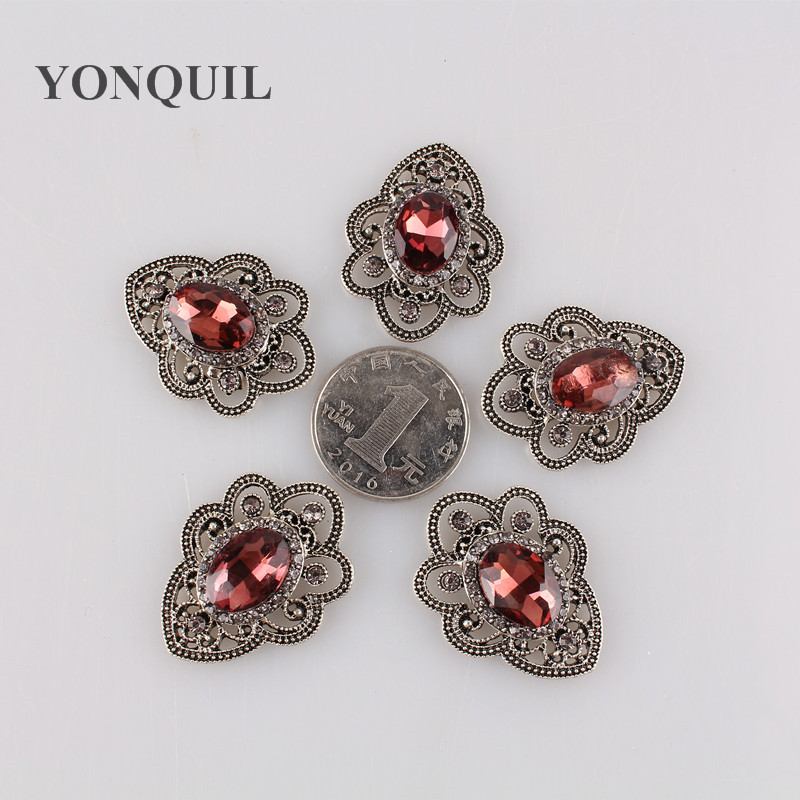 26*35MM Waterdrop red glass Rhinestone With Claw Setting Silver Base rhinestone Applique Button hat With Holes 12pcs/lot MYQB102