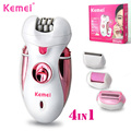 KEMEI 4 in 1 Rechargeable Women Shaver Electric Epilator Pedicure Machine Lady Hair Removal Callus Remover Foot Care Tool BT-168