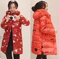 Red long Section Hooded Down Jacket Maternity Winter Warm Thick Loose Light