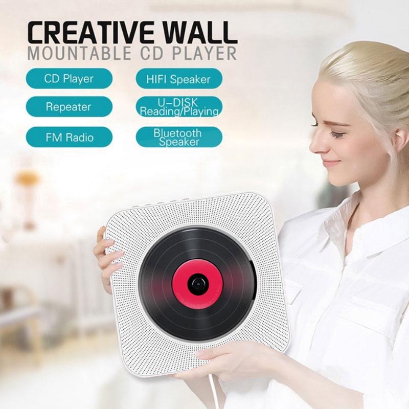 Lecteur CD multifonctionnel Portable lecteur MP3 Boombox lecteur de musique CD MP3 entrée AUX montable au mur