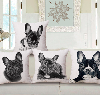Black and White Bulldog Doggy Puppy Neck Body Pillowcase Linen Bed Pillows Cover Couch Seat Cushion Pillow Home Decoration Gift