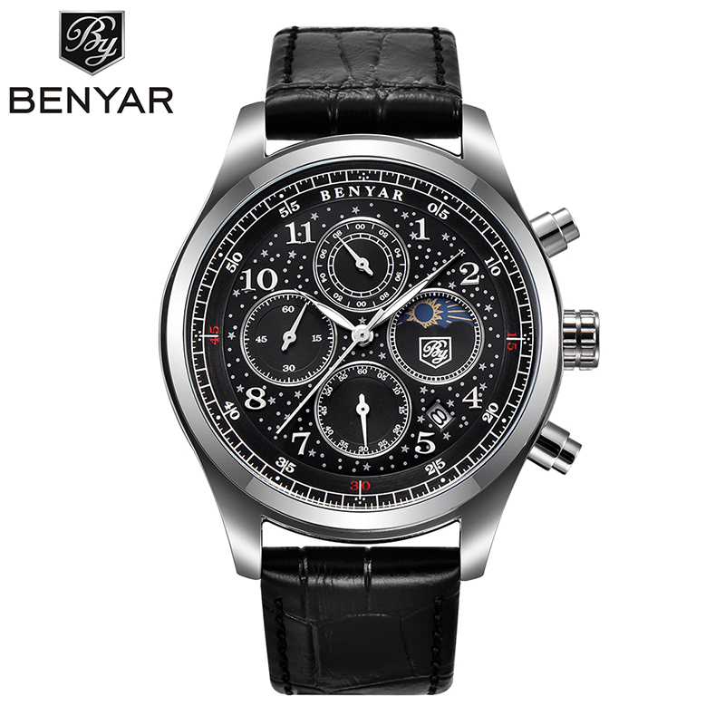 Male High Quality Waterproof White Shell Genuine Leather Starry Men Watch Sport Brand New Chronograph Quartz Watches kol saati genuine jedir quartz male watches genuine leather watches racing men students game run chronograph watch male glow hands