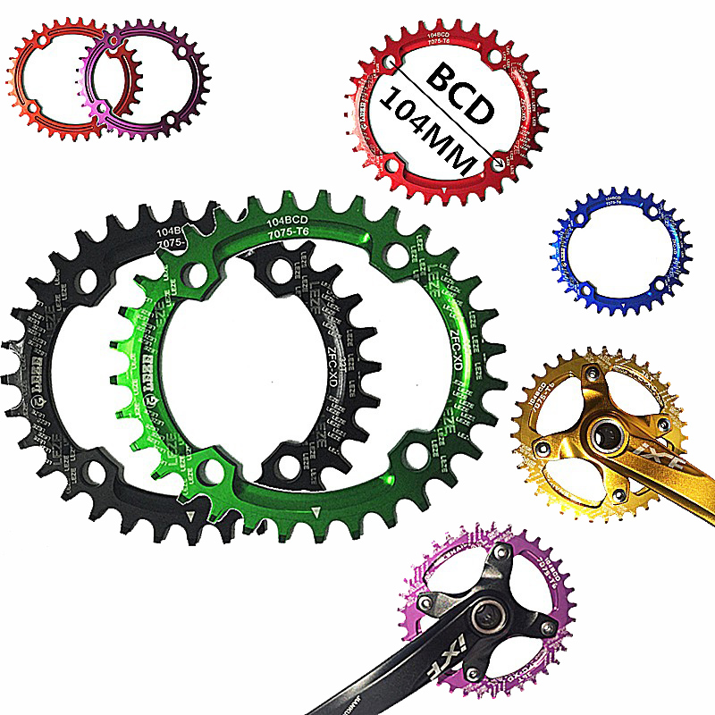 <font><b>32T</b></font> 34T 36T Bicycle Chainwheel Crank Bike Single Speed Oval Freewheel Bicycle <font><b>Narrow</b></font> <font><b>Wide</b></font> Chain Rings Cog Sprockets Cdg 104BCD image