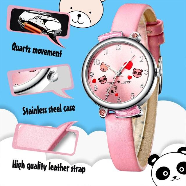 KDM Cute Cartoon Panda Child Watches Waterproof Kids Watch Genuine Leather Kid Pandas Children Wristwatch Student Girl Boy Clock 2