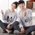 Любители осенние 100% Хлопок Пижамы Устанавливает Теплые Дамы С Длинным Рукавом Пижамы Главная Одежда Пара пижамы установить Женщины Мужчины Sleepwearing