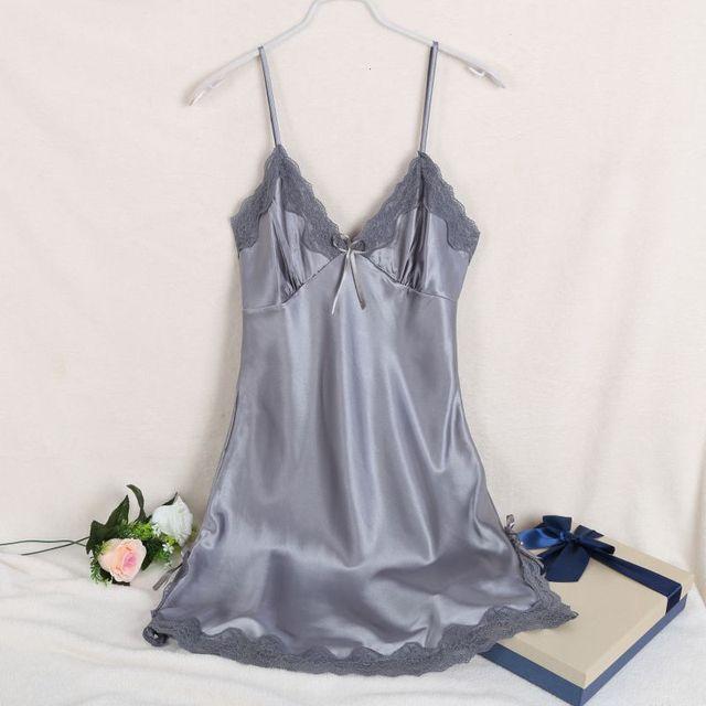 Ladies Sexy V-neck Nightgown Lace Sleepwear For Women  Silk Satin Night Dress Sleeveless