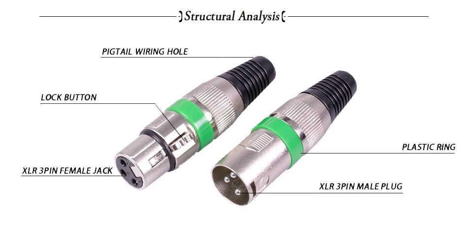 12 sets lot 3 pin xlr male plug female jack wire connector xlr plug xlr to stereo jack wiring diagram xlr jack wiring #19