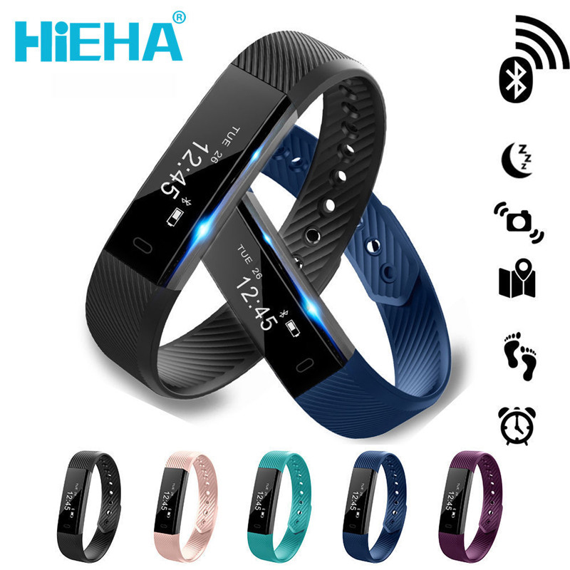 Hieha Smart Touch Screen Watch Bracelet Fitness Tracker Step Fitness Band Alarm Clock Vibration Wristband For