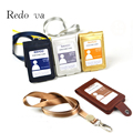 Top grade PU Leather Badge holder Lanyard Business Double Bank Credit Card Holder case Bus ID Card holders Customized Print logo
