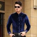 Male shirt 2016 autumn long-sleeve shirt men's stand collar gold velvet print casual male shirt easy care