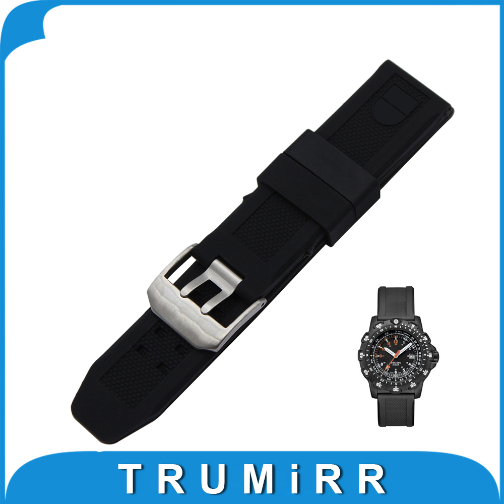 22mm 23mm Silicone Rubber Watch Band for Luminox Land Sea Sport Diving Strap Stainless Steel Buckle Wrist Bracelet Black