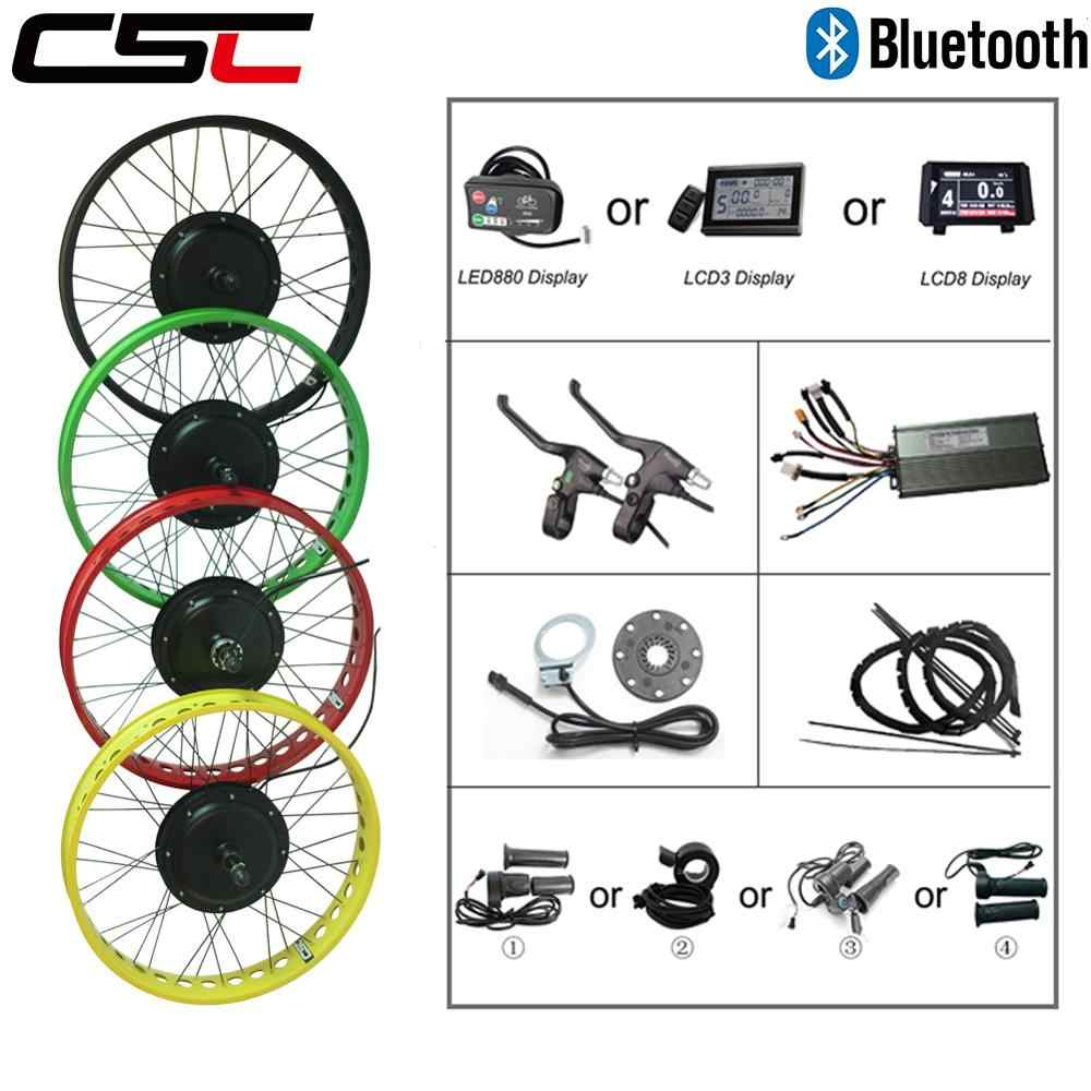 "motor Front Rear snow wheel 20 24 26 "" 4.0 Tyre 48V 500W 750W 1000W 1500W Bluetooth Electric Fat Bike bicycle Conversion Kit"