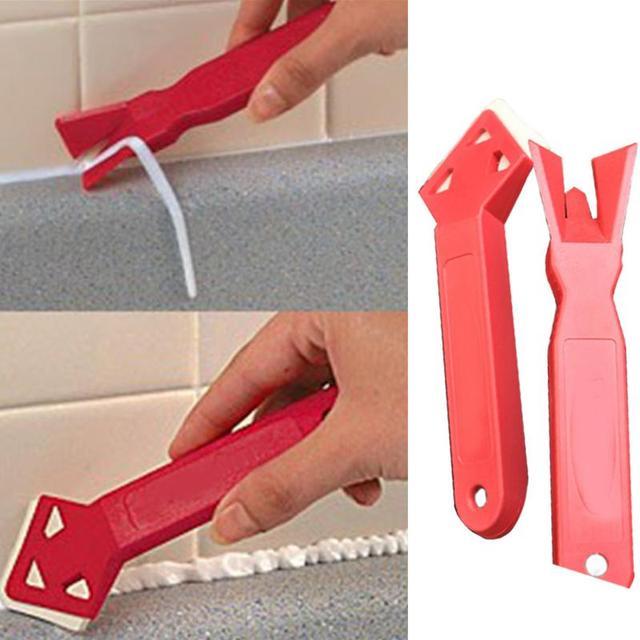2 pçs porta da janela de vidro silicone ferramenta raspador cimento calafetagem acabamento selante grout removedor de espátula de silicone novo