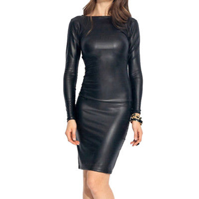 2018 Summer Sexy Women PU Leather Dress Long Sleeve Bodycon Midi Office Dress Black Sexy ...