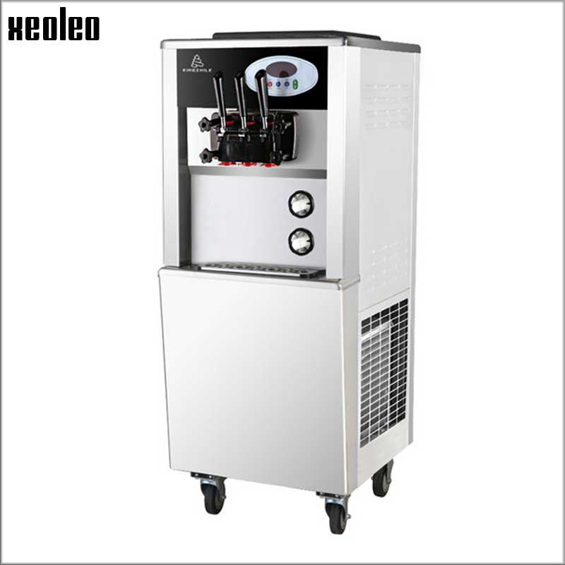 Xeoleo Commercial Soft Ice Cream Machine 3 Flavors Ice Cream Maker 2000W/220V 25L/H Yogurt Ice Cream Machine with Cone Dispenser