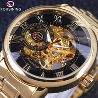 Forsining Retro Roman Number Display Mechanical Steampunk Design Transparent Mens Watches Top Brand Luxury Skeleton Wrist