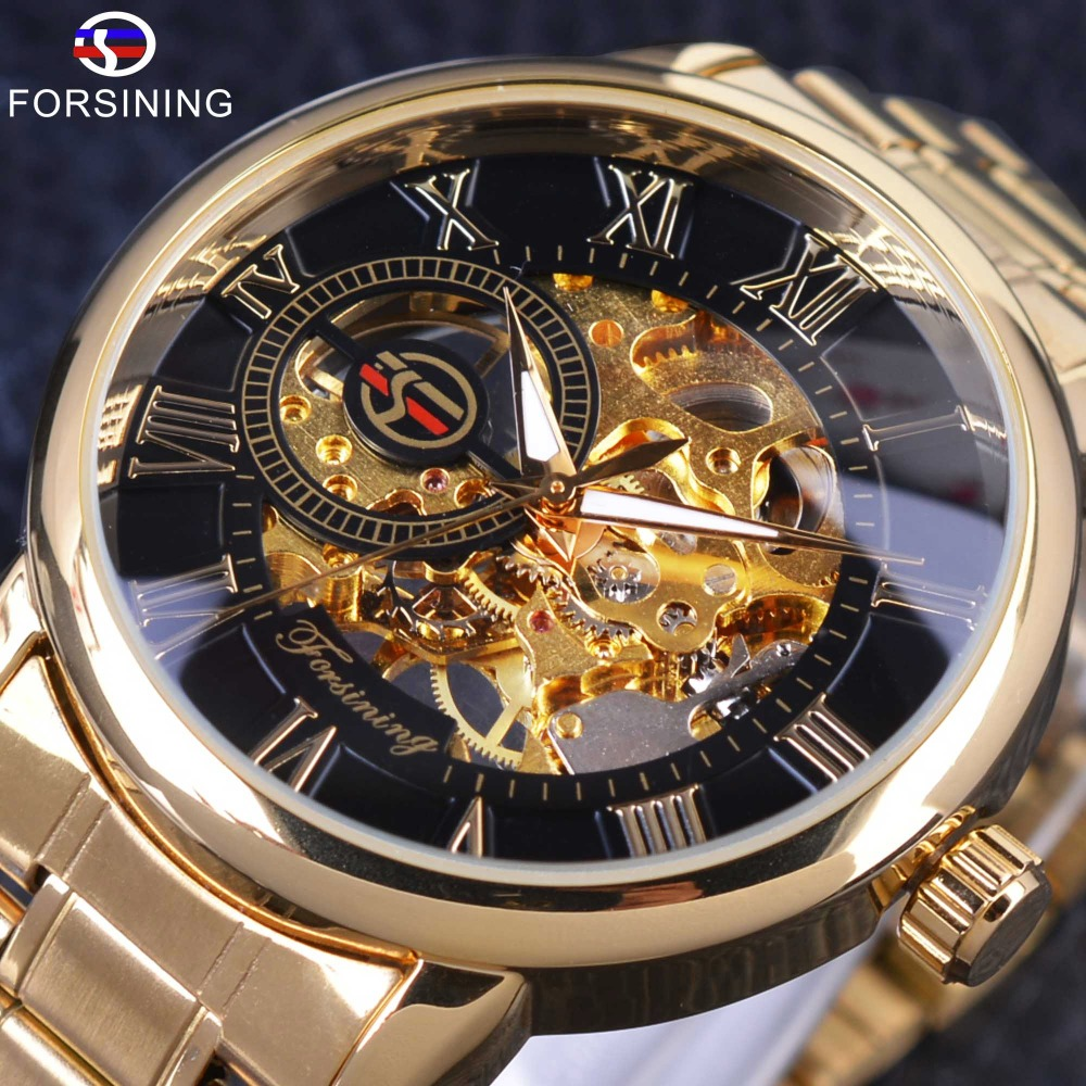 Forsining Retro Roman Number Display Mechanical Steampunk Design Transparent Mens Watches Top Brand Luxury Skeleton Wrist Watch forsining 3d skeleton twisting design golden movement inside transparent case mens watches top brand luxury automatic watches