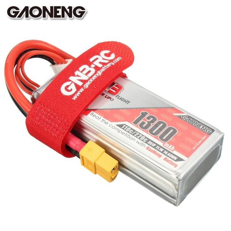Gaoneng GNB 11.1 V 1300 mAh 3 S 110C 220C Lipo Batterie XT60 Plug connecteur Avec Tie Strap pour RC Racing Drone FPV Quadcopter Puissance