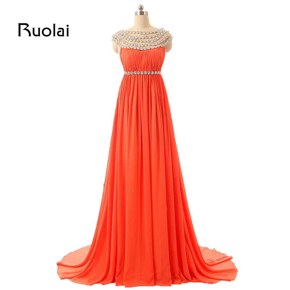 Real Made A-Line   Bridesmaid     Dresses   Long Crystal Beaded Neck Chiffon Wedding Party   Dresses   Guest   Dress   Vestido de Fiesta BM33