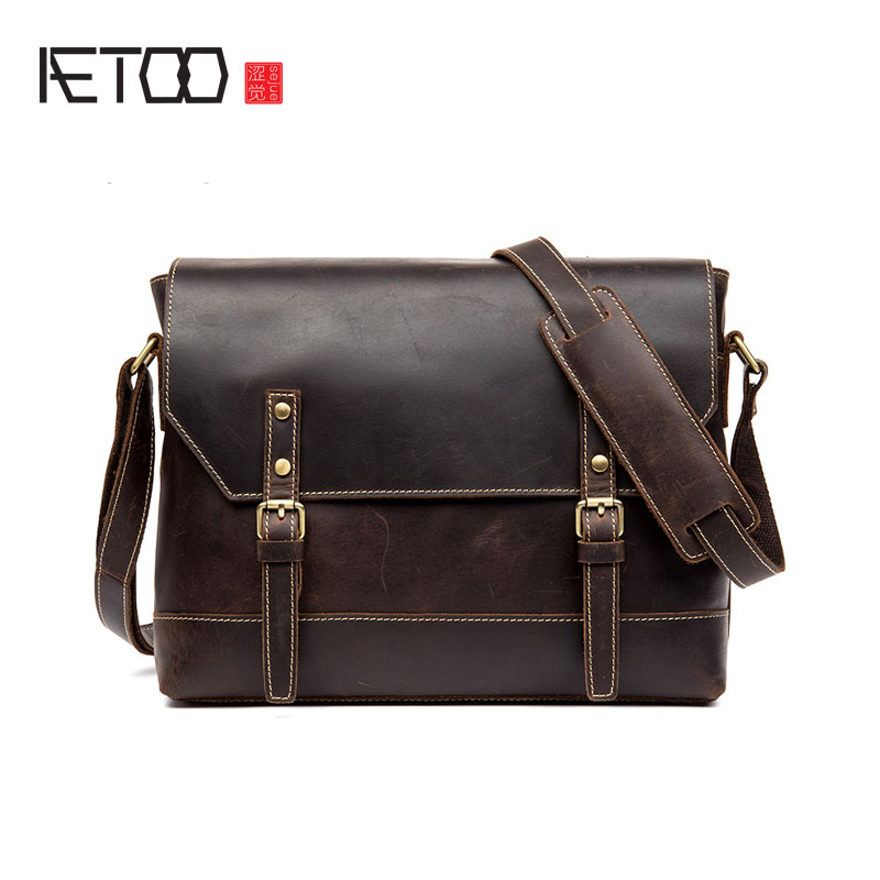 AETOO Business casual leather oblique bag men first layer cowhide horizontal bag male bag mad horse leather shoulder bag aetoo new first layer of leather men s shoulder bag leather male package cross section oblique cross bag japanese and korean ver