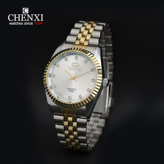 CHENXI Clock Gold Men Quartz Watch Stainless Steel Lover's Rhinestone WristWatch Rose Gold diamonds Men Women Watch