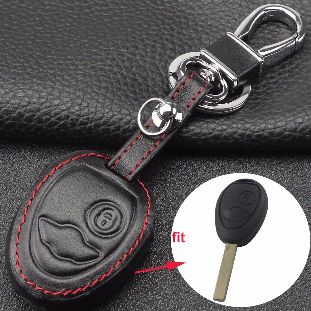 2 Buttons Leather Remote Car Key Case Cover Holder For BMW Mini Cooper S R50 R53 Two
