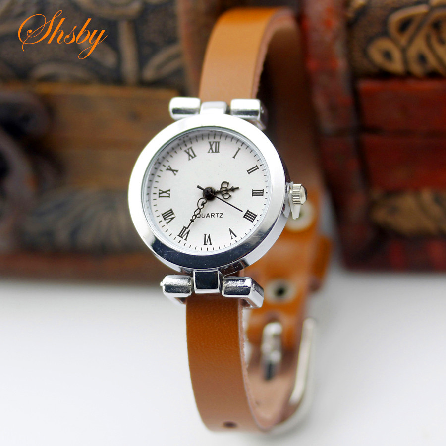 shsby New fashion hot selling Genuine leather female silver font b watch b font ROMA vintage