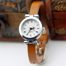 shsby New fashion hot-selling Genuine leather female silver watch ROMA vintage watch women
