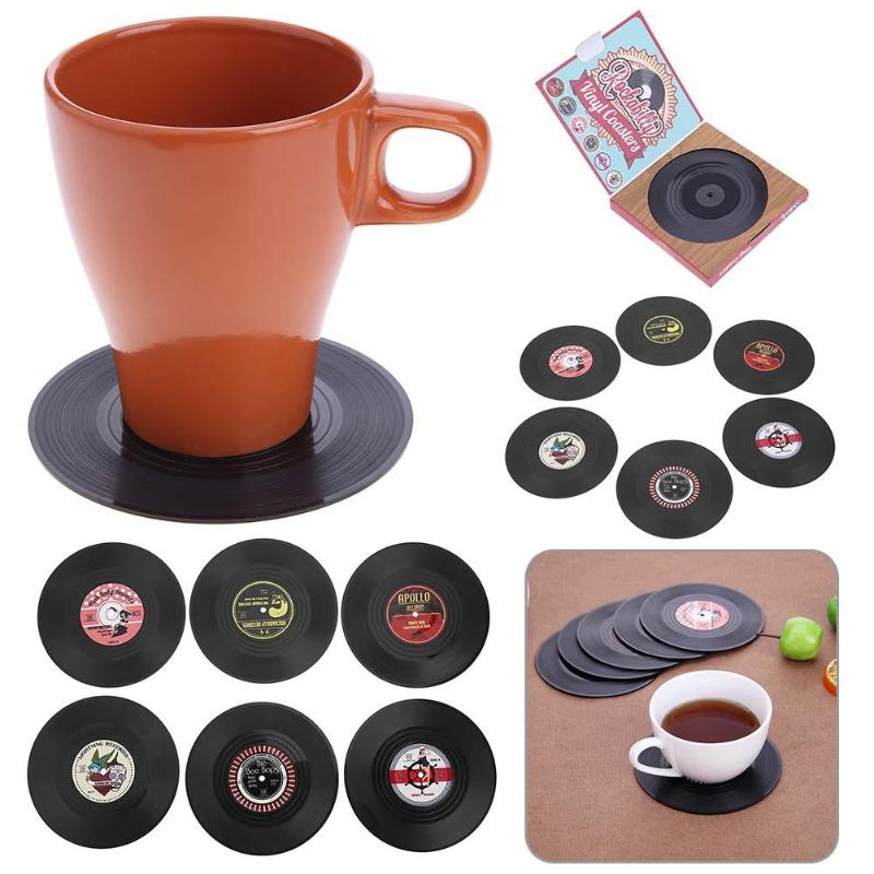 6 Pcs Retro Vinyl Record Drinks Coasters Table Cup Mat Home Decor Tableware Coffee Drink Placemat Kitchen Accessaries