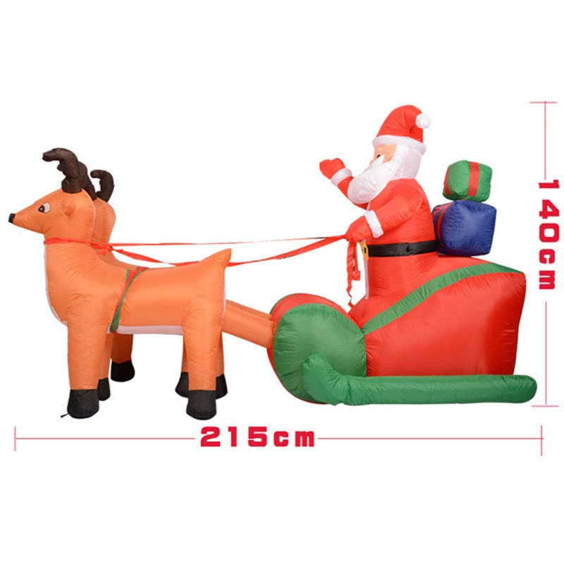 210Cm Inflatable Santa Claus Riding Two Reindeer-Pulled Gold Cart Loading Christmas Presents  Inflating Toys for Children Adults outdoor christmas decoration inflatable santa claus 20ft high 6m high factory direct sale bg a1188 toy