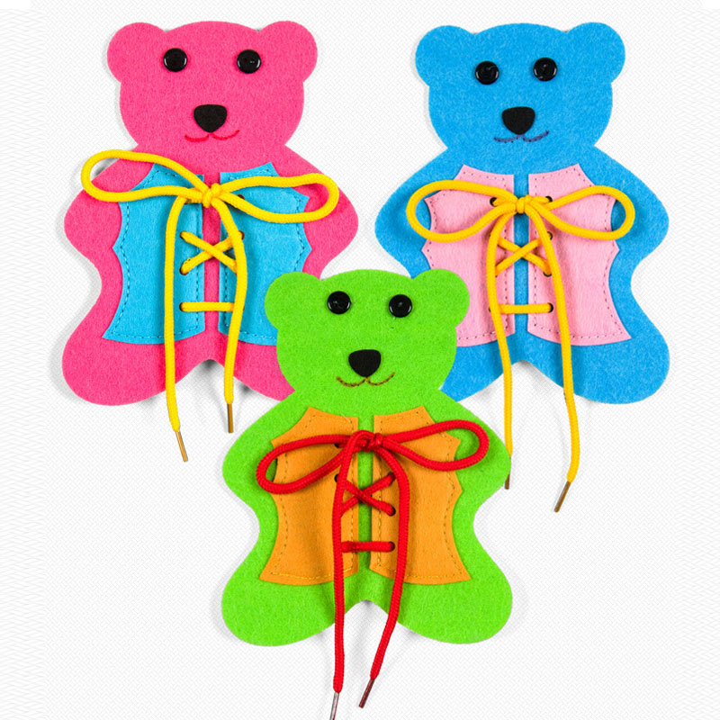 Felt Craft Little Bear Non Woven Felt Cloth Diy Making Materials 14x 18cm Puzzle Game School Study Tools 1 Pcs