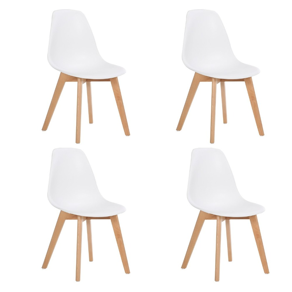 EGGREE Set of 4 Leisure Dining Chairs with Wood Legs Retro Design High Quality,White ...
