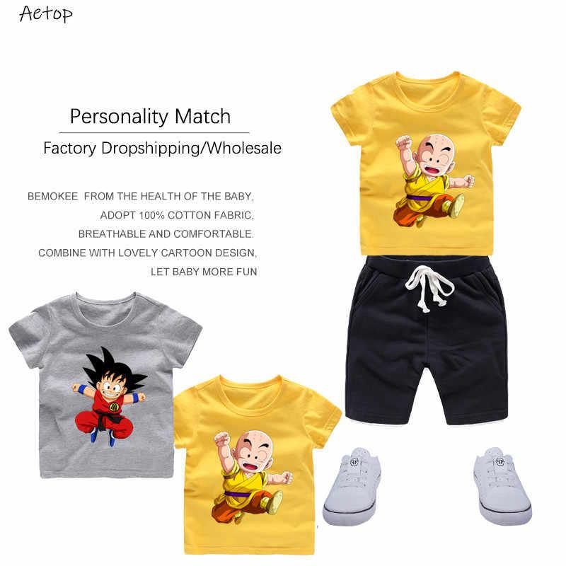 เด็กสาว Dragon Ball น่ารักพิมพ์ T เสื้อฤดูร้อนสีขาวเสื้อยืดเด็กตลกวันเกิดเสื้อผ้า, b06