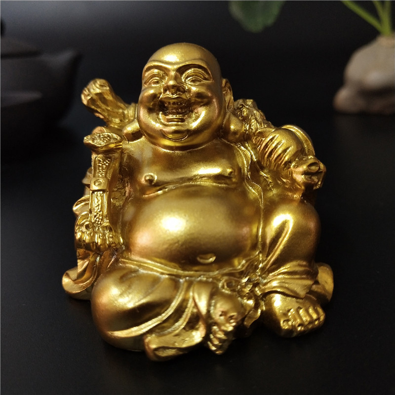 Golden Sitting Feng Shui Maitreya Laughing Buddha Statue Sculpture Figurines Ornaments Garden Home Decoration Buddha Statues