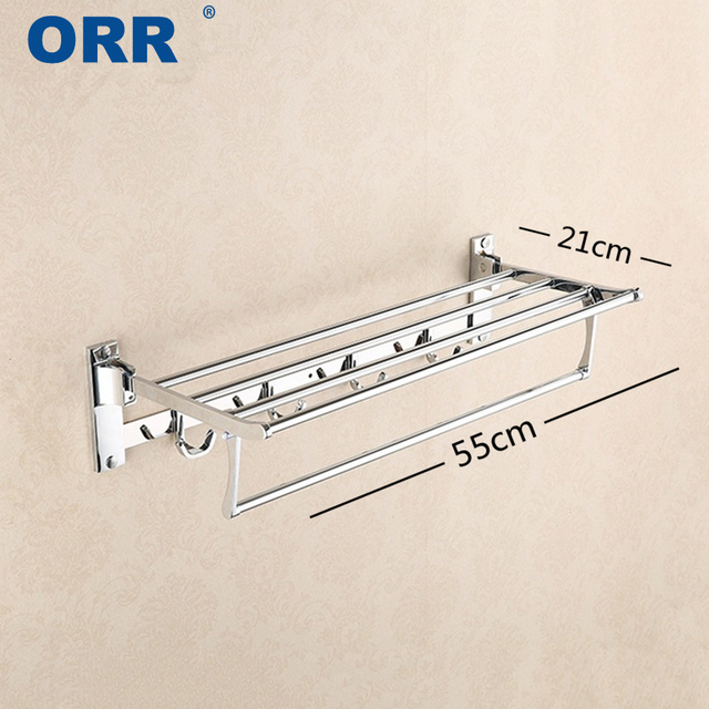 Free Shipping Hook Towel Bar For Bathroom Adjustable Towel Rack Space Fold  Hanger With 4 Link