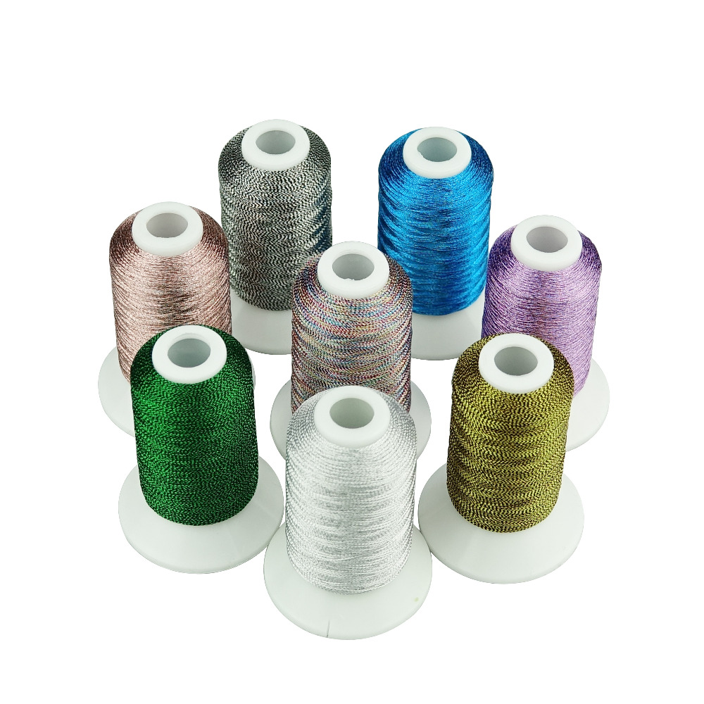 SIMTHREAD 8 Pearl Colors/kit Metallic Embroidery Thread 550 Yards/Cone  For Home Machine