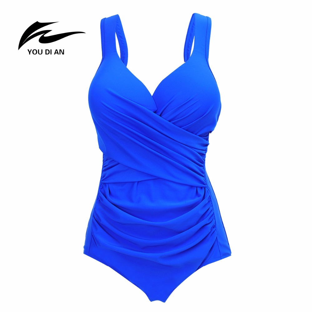 YOUDIAN Brand Swimwear Sport Style Plus Size Swimsuit for Fat Women Nylon High Quality V Neck Push Up Beach Wear Size 2XL-5XL v sport ft209 2