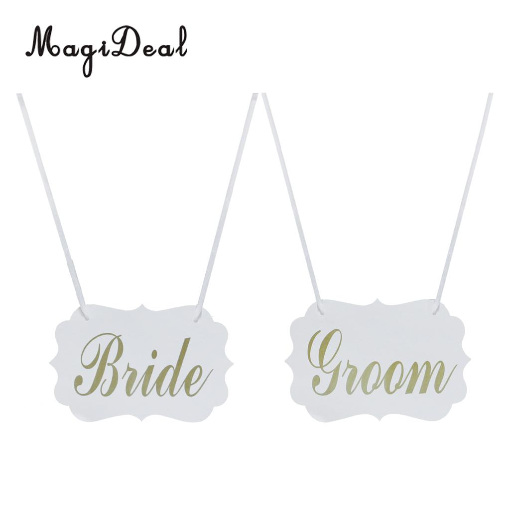 MagiDeal White Bride & Groom Chair Sign Bunting Vintage Wedding Hanging Decoration