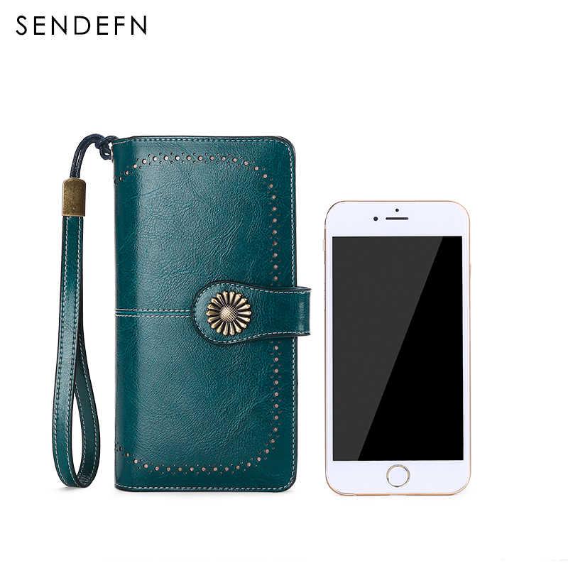 SENDEFN женский клатч Новый кожанный раздельный кошелек женский длинный кошелек женский кошелек на молнии ремень портмоне для iPhone 7 5162S2-8