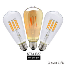 LED Edison Bulb Lamp 8W E27 110V 220V ST64 Dimmable Vintage Incandescent Romantic Lights for Home Wedding Party Decorating(China)
