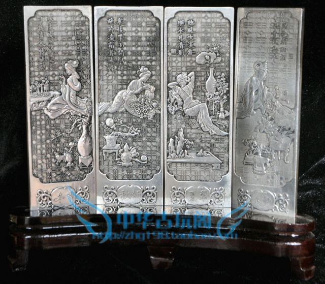 Chinese collection Tibetan silver carving Spring, summer, autumn and winter folding screenChinese collection Tibetan silver carving Spring, summer, autumn and winter folding screen