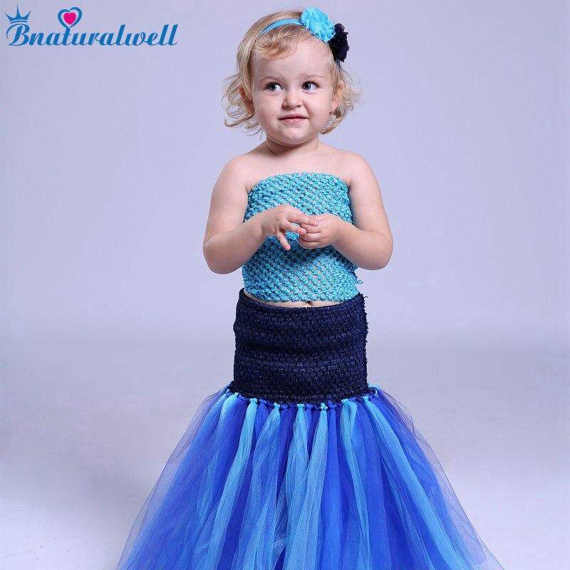Bnaturalwell Baby Girls Mermaid Dress Princess Tutu Dresses Cosplay Party Costume Children Clothing Make-up party dress TT005K вечернее платье mermaid dress vestido noiva 2015 w006 elie saab evening dress