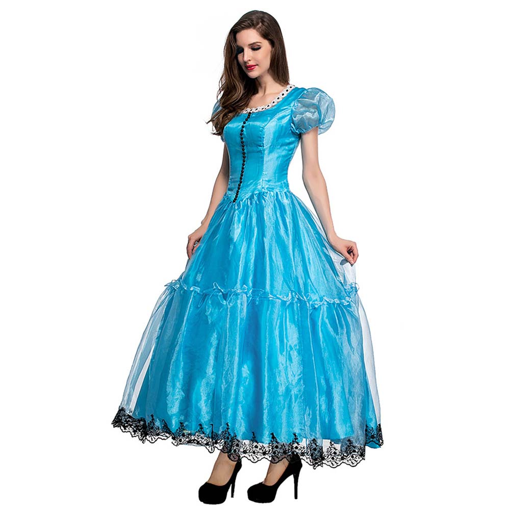 c144dfd02da4 Adult Alice in Wonderland Costume Movie Cosplay Princess Blue Ball Gown  Party Evening Party Dress Halloween Costumes for Women-in Movie & TV  costumes from ...