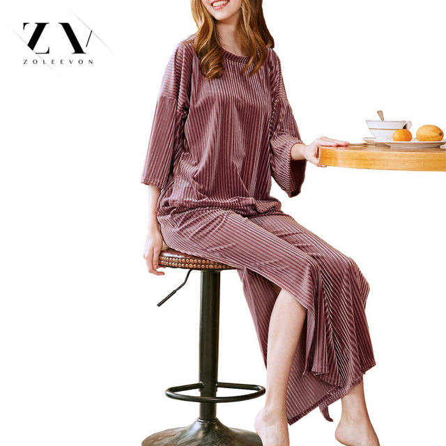 Velvet Pajamas Sets For Women Two Piece Full Length Pyjama Slit Women's Home Clothes Pink Sexy Top and Pants