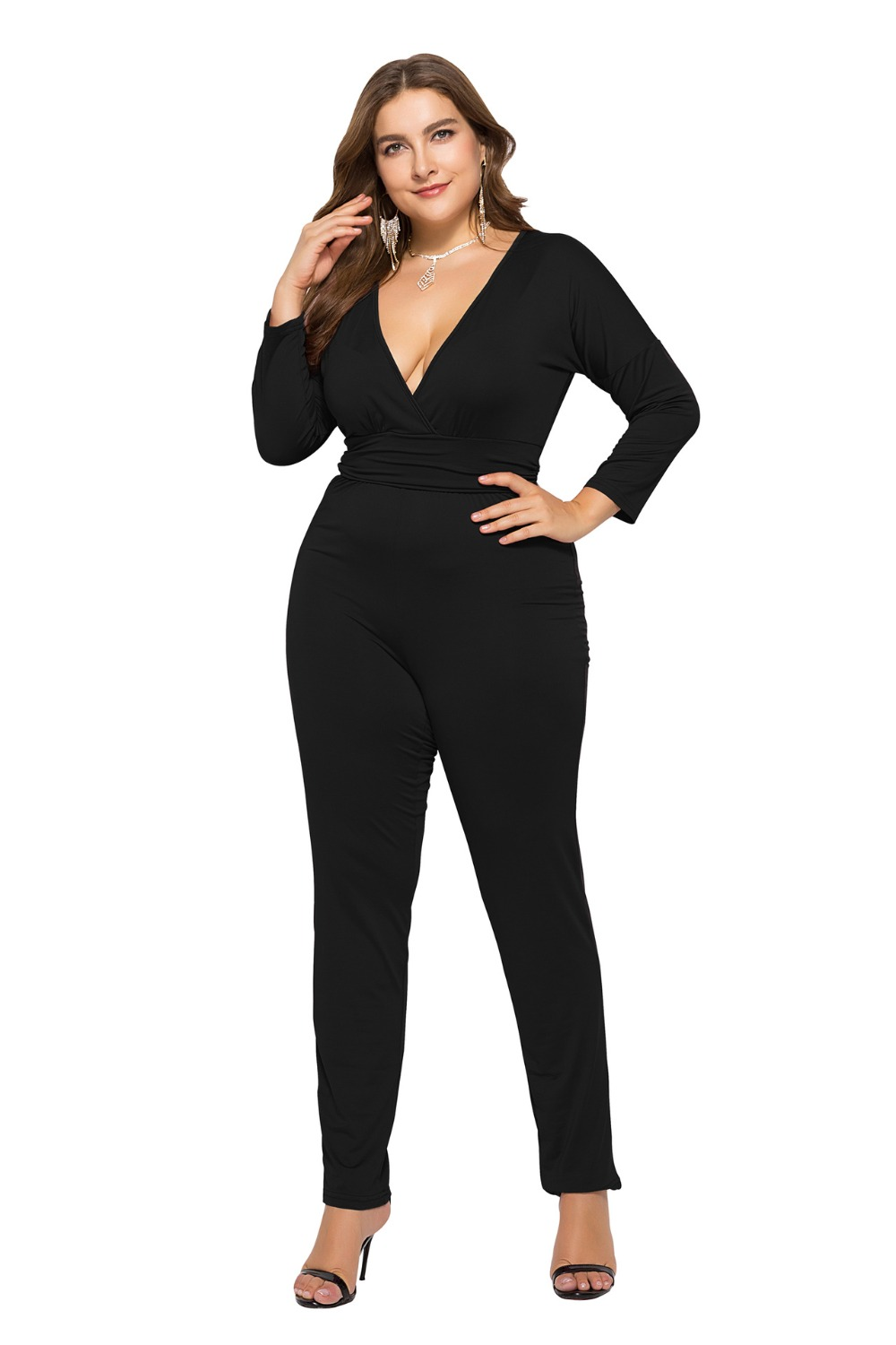 Sexy V Neck Jumpsuit Women Casual Solid Long Sleeve Back Hollow Out Overalls For Women Bodycon Slim Female Body Elegant Jumpsuit