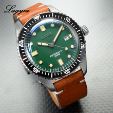Lugyou San Martin Sea Master Diver Men Watch Automatic Stainless Steel Sapphire Crystal 20Bar Waterproof Leather Strap Date