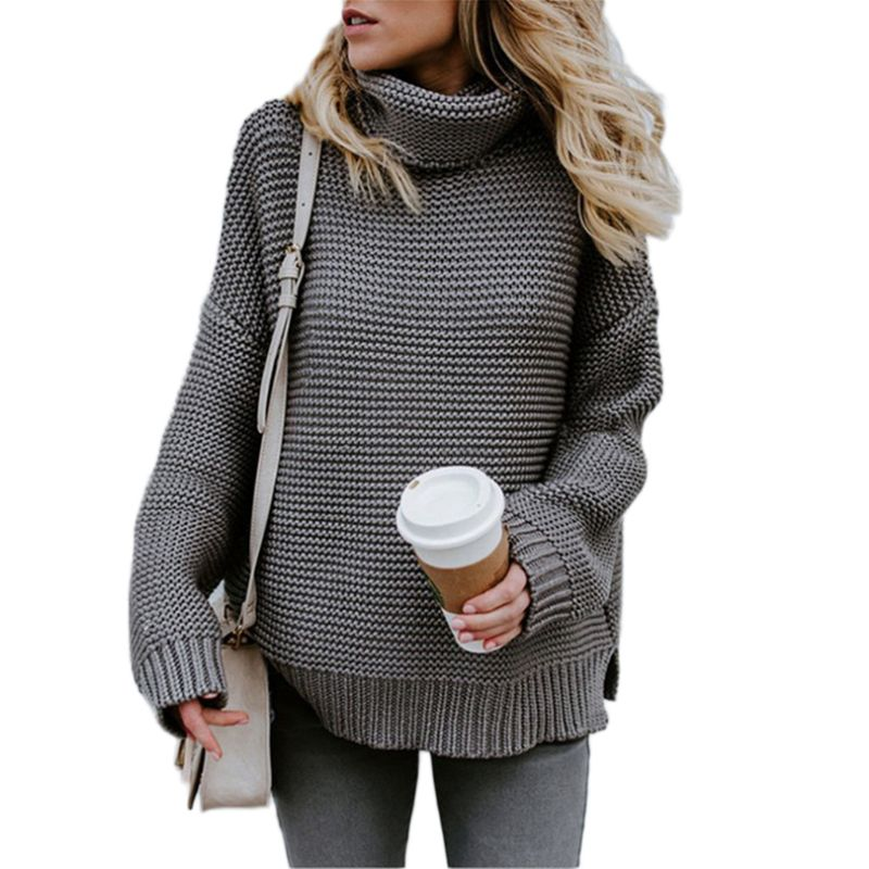 c4c19a53c62 2018 Winter Autumn Women Long Sleeve Sweater Oversized Turtleneck Cable  Knitted Pullover Tops Solid Plus Size Pullover