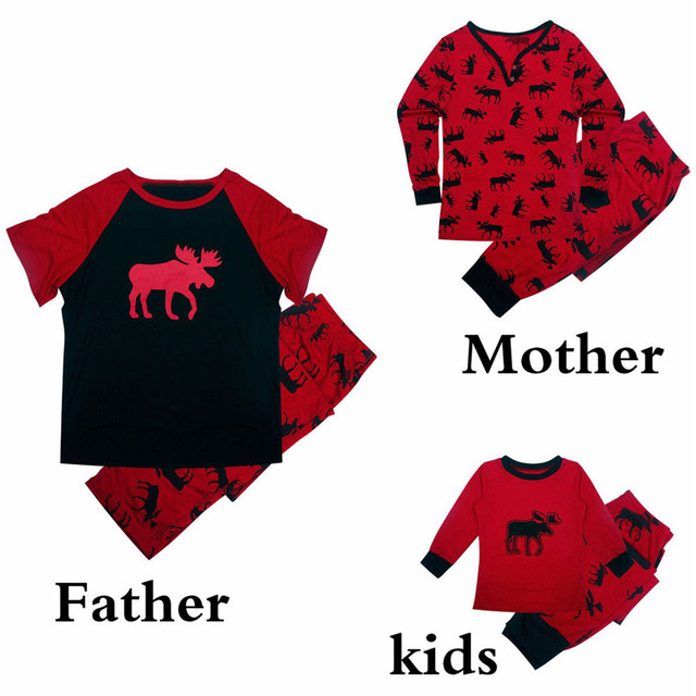 c317155bbb25 Family Christmas Pajamas Set Father Women Kid Clothes Set Xmas Christmas  Deer Sleepwear Nightwear Family Matching Outfits