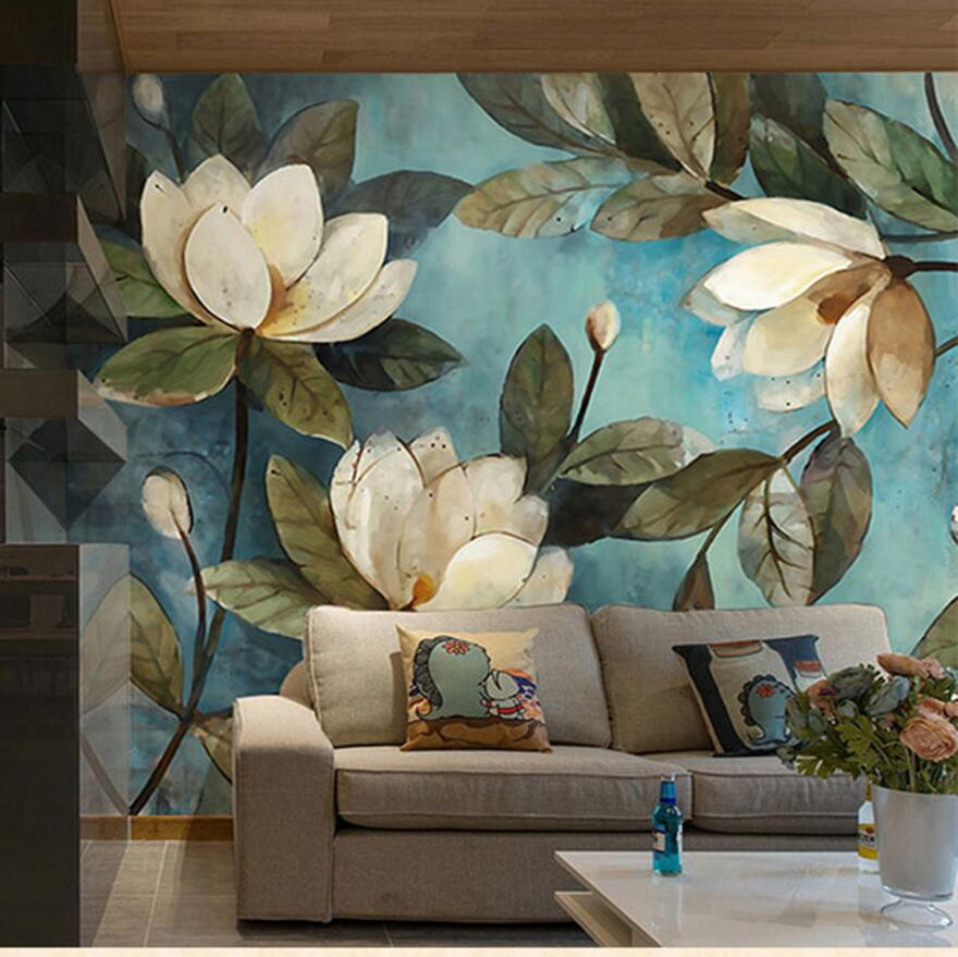 3d magnolia flowers southeast asia style oil painting wall for 3d wall mural painting